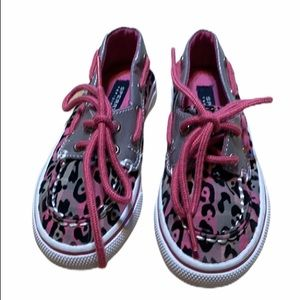 Sperry Canvas Pink and Gray Toddler Topsiders